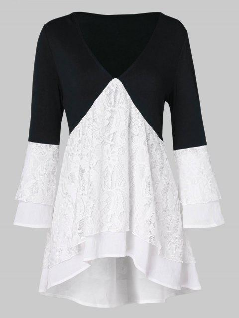 Two Tone Lace Panel Layered Blouse - WHITE M