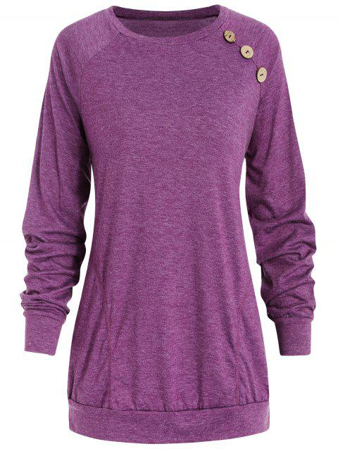 Long Sleeve Button Detail T-shirt - MEDIUM VIOLET RED S