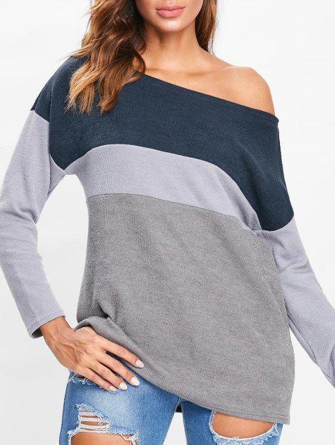 Skew Neck Contrast Sweater - GRAY S