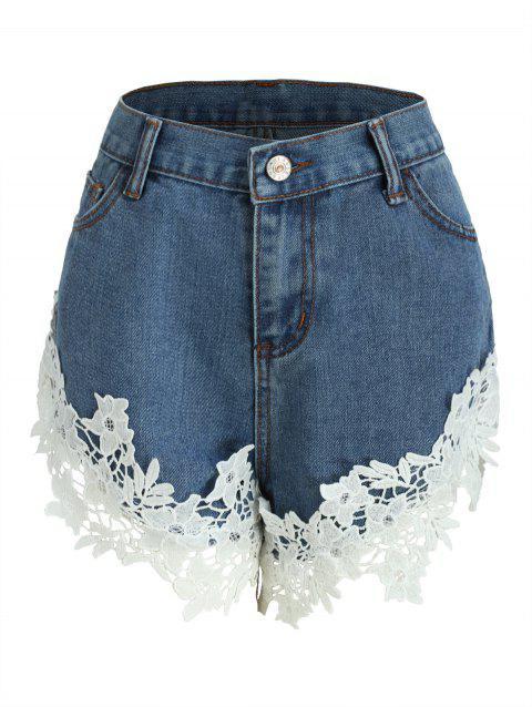 Lace Panel Jean Shorts - DENIM BLUE L