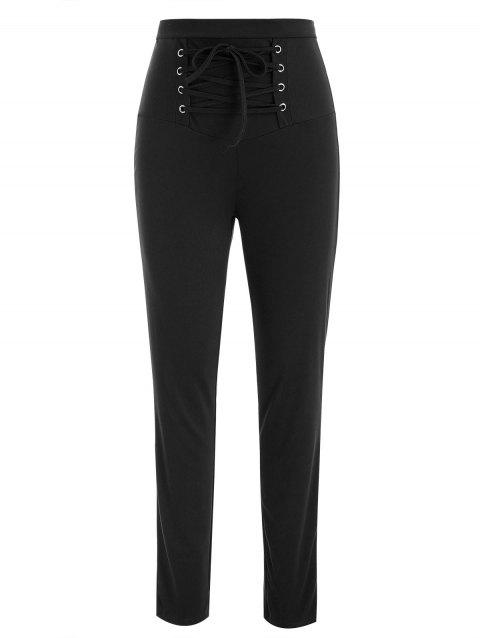 Lace Up Stretch Pants - BLACK 2XL