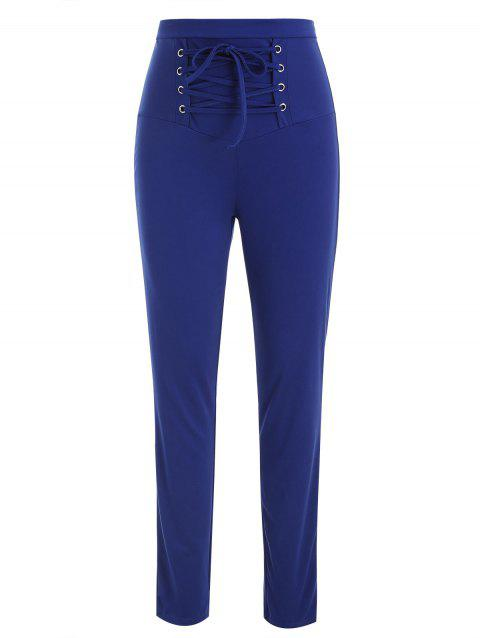 Lace Up Stretch Pants - BLUE M