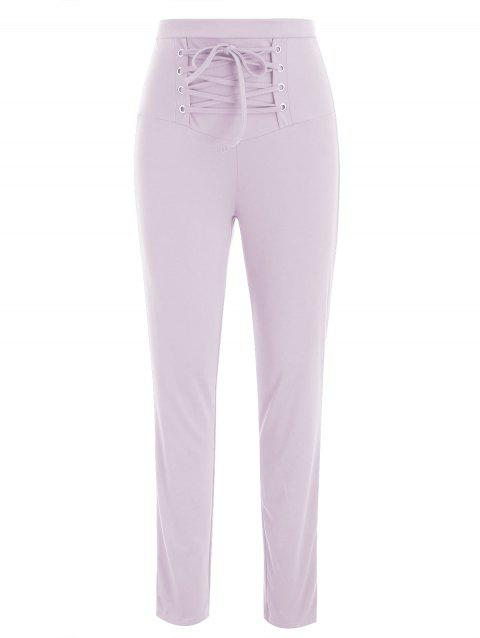 Lace Up Stretch Pants - MAUVE M