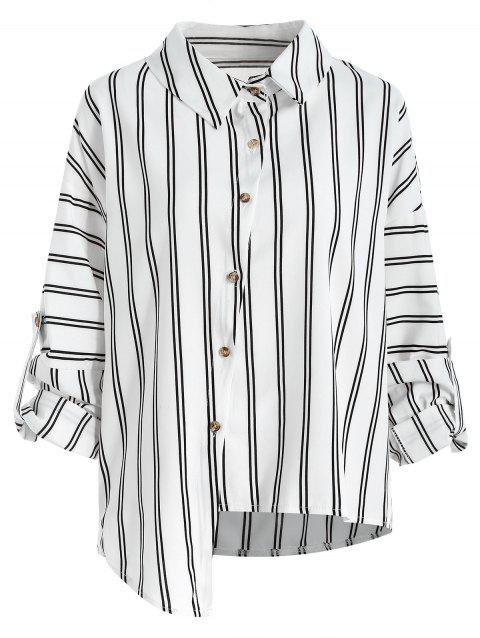 Asymmetrical Striped Shirt - WHITE XL