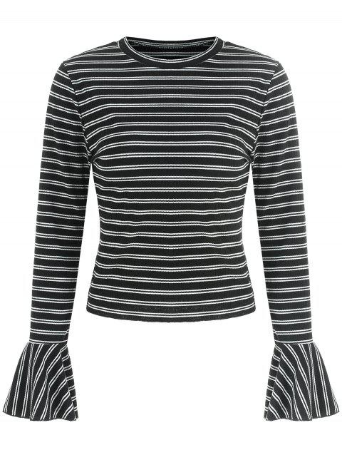 Stripe Flare Sleeve T-shirt - BLACK M