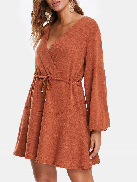 Drawstring Puff Sleeve Mini Surplice Dress - BROWN L