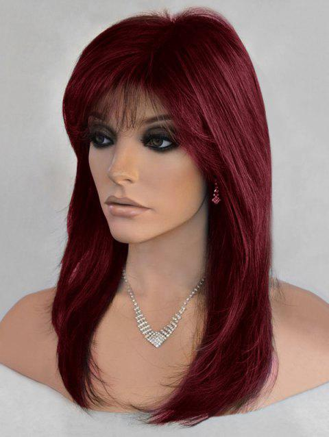 Long Side Bang Straight Colormix Synthetic Wig - RED WINE