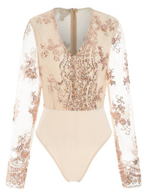 Mesh Insert Sequin Bodysuit - ANTIQUE WHITE L