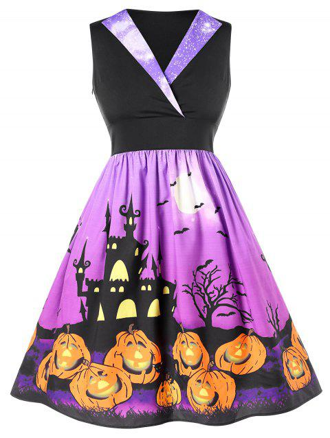 Plus Size Halloween Printed Pin Up Dress - BLACK L