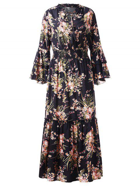 Flare Sleeve Tiny Floral Print Long Dress - BLACK 2XL