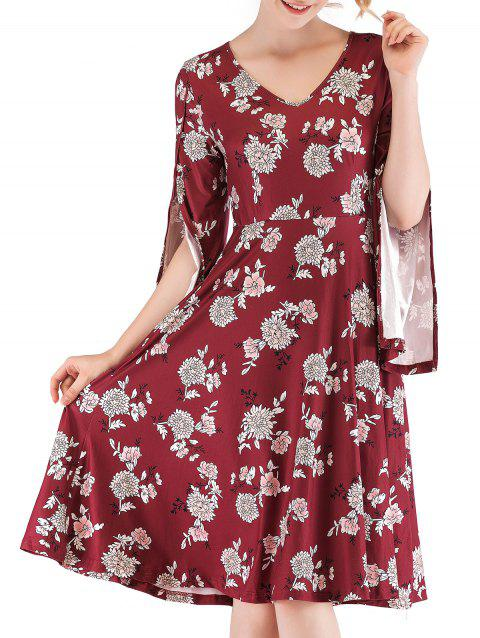 Split Sleeve Floral High Waist Dress - RED WINE XL