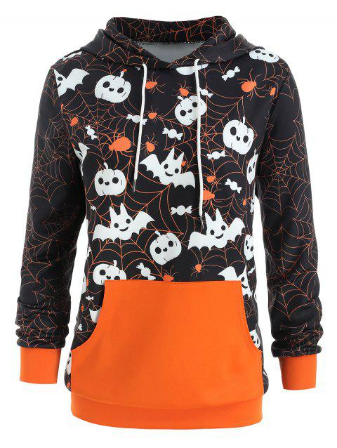 Halloween Plus Size Kangaroo Pocket Hoodie - ORANGE L