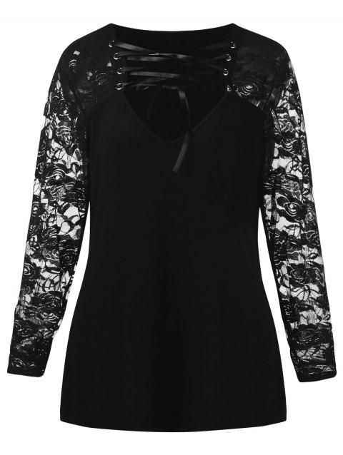 Plus Size Long Sleeve Floral Lace T-shirt - BLACK 2X