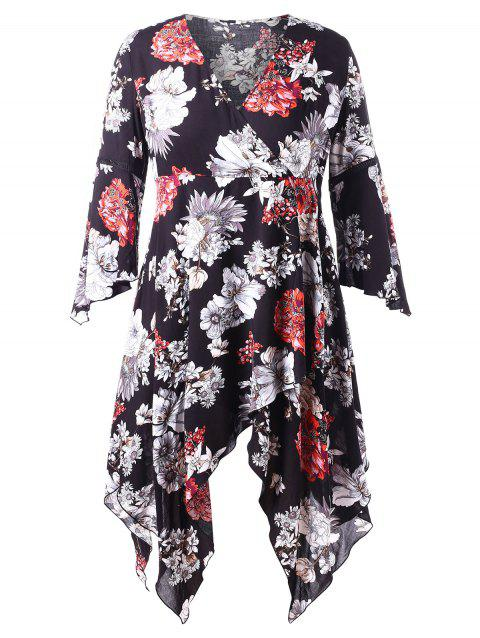 Plus Size Bell Sleeve Floral Handkerchief Surplice Dress - BLACK 4X