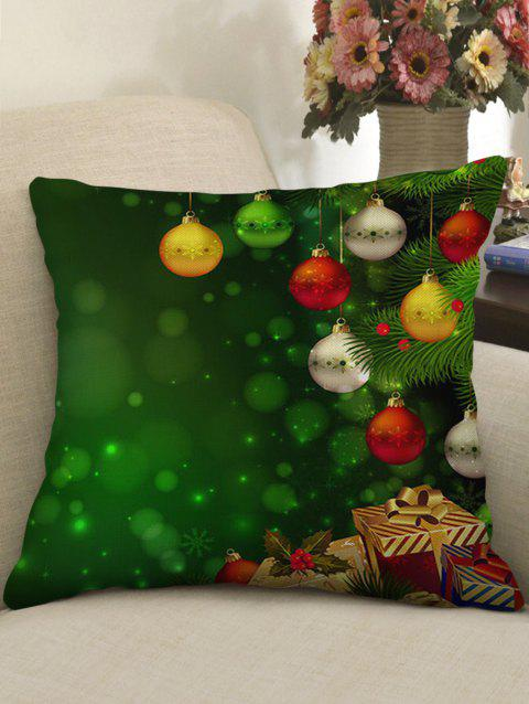 Christmas Ball Gifts Print Sofa Linen Pillowcase - JUNGLE GREEN W18 X L18 INCH