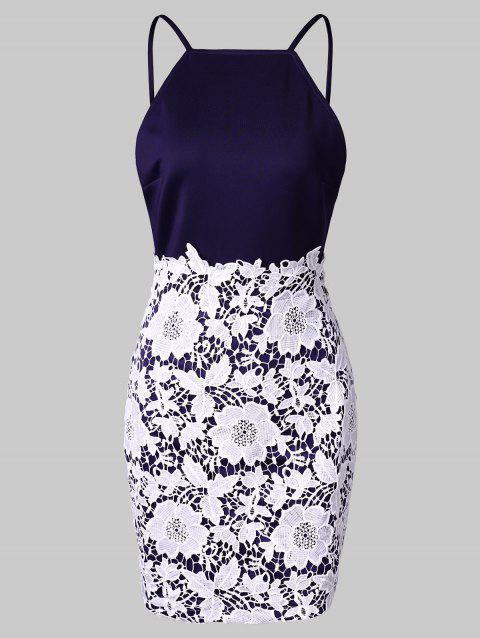 Open Back Floral Lace Bodycon Dress - DEEP BLUE M