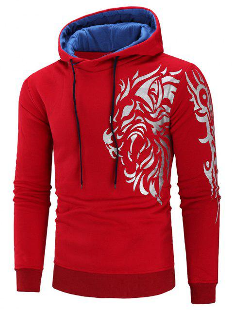 Drawstring Color Block Tiger Print Hoodie - RED XL
