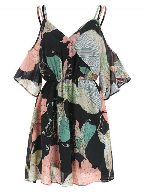 Cold Shoulder Flower Print Dress - BLACK M