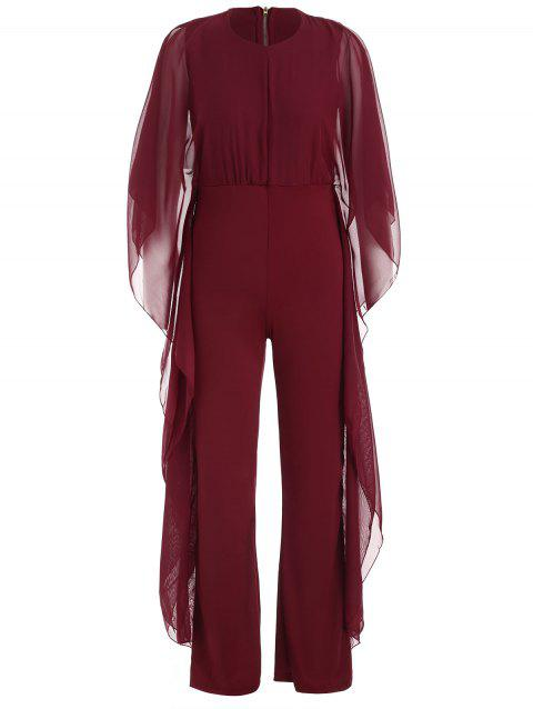 Bat Sleeve Jumpsuit - RED WINE 2XL