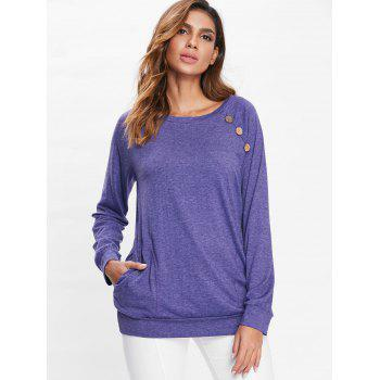 Long Sleeve Button Detail T-shirt - PURPLE XL