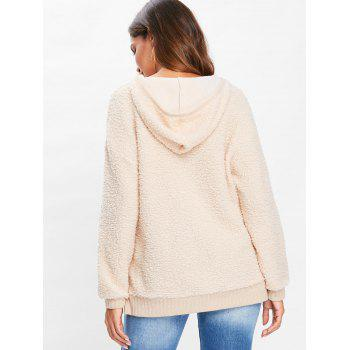 Drop Shoulder Fuzzy Hoodie - BLANCHED ALMOND XL