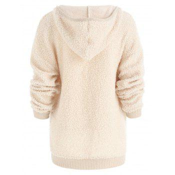 Drop Shoulder Fuzzy Hoodie - BLANCHED ALMOND L
