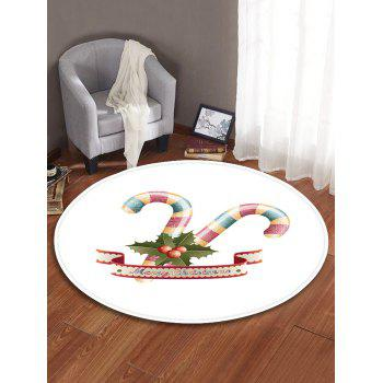 Christmas Cane Candy Pattern Round Flannel Rug - WHITE 60CM (ROUND)