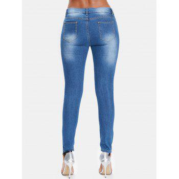 Butterflies Embroidery Slim Fit Distressed Jeans - JEANS BLUE L