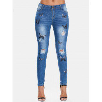 Butterflies Embroidery Slim Fit Distressed Jeans - JEANS BLUE XL