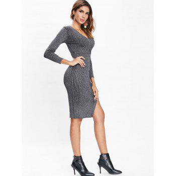 Long Sleeve Sparkle Knit Faux Wrap Dress - BLACK M