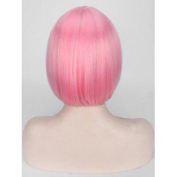 Short Full Bang Straight Bob Cospaly Synthetic Wig - LIGHT CORAL
