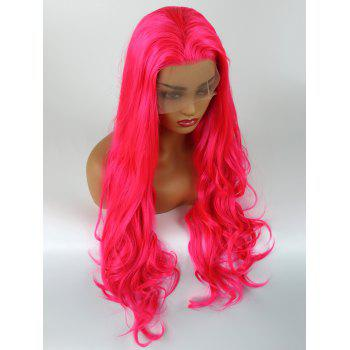 Free Part Long Slightly Curly Lace Front Synthetic Party Wig - WATERMELON PINK 24INCH
