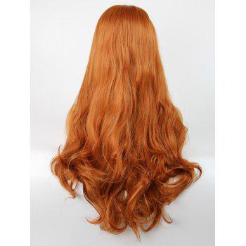 Long Side Parting Slightly Curly Lace Front Synthetic Party Wig - HALLOWEEN ORANGE 24INCH