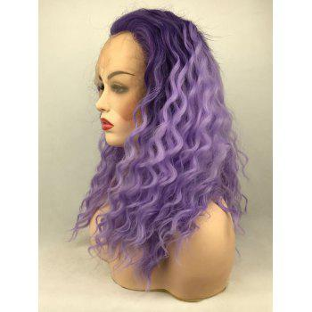 Long Free Part Ombre Natural Wavy Party Synthetic Lace Front Wig - multicolor