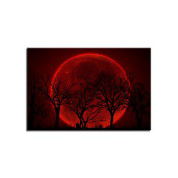 Red Moon and Trees Print Unframed Wall Hanging Paintings - multicolor 1PC X 20 X 29.5 INCH( NO FRAME )