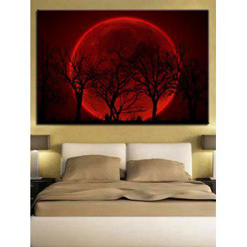 Red Moon and Trees Print Unframed Wall Hanging Paintings - multicolor 1PC X 16 X 24 INCH( NO FRAME )