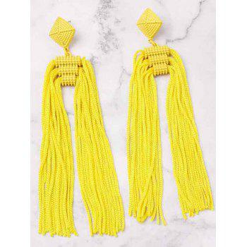 Unique Long Fringed Solid Color Earrings - YELLOW