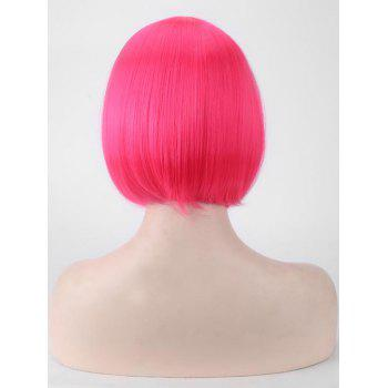 Short Full Bang Straight Bob Cospaly Synthetic Wig - ROSE RED