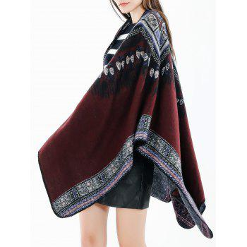 Ethnic Printed Winter Oversized Scarf - RED WINE
