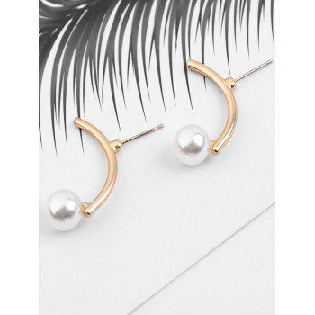 Unique Irregular Alloy Faux Pearl Earrings - GOLD