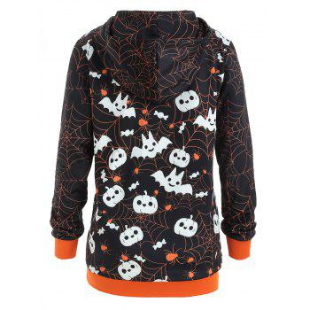 Halloween Plus Size Kangaroo Pocket Hoodie - ORANGE 1X