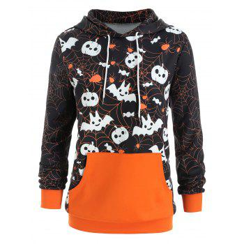 Halloween Plus Size Kangaroo Pocket Hoodie - ORANGE 4X