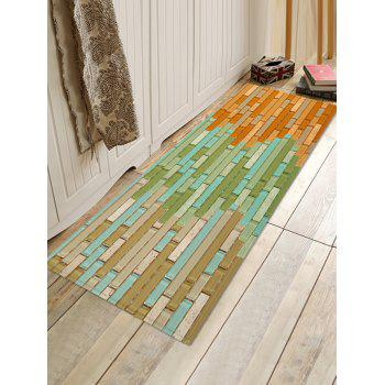 Tile Color Block Print Non-slip Flannel Bath Mat - PAPAYA ORANGE W16 X L47 INCH