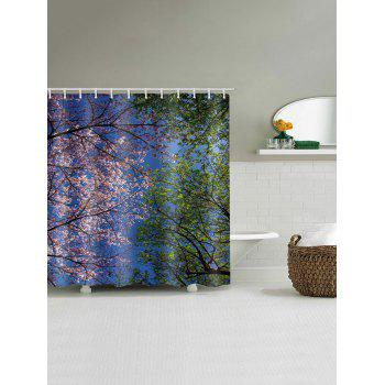 Flower Scene Pattern Waterproof Bath Shower Curtain - multicolor W71 X L79 INCH