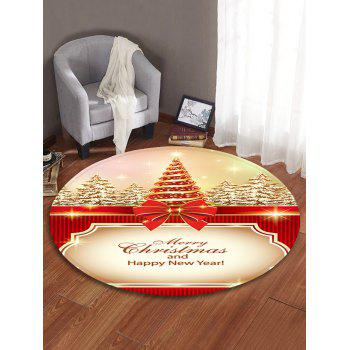 Christmas Tree Printed Decorative Round Floor Rug - BLANCHED ALMOND 80CM (ROUND)