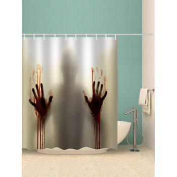 Halloween Bloody Silhouette Print Waterproof Shower Curtain - multicolor W59 X L71 INCH