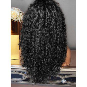 Long Inclined Bang Curly Colormix Party Synthetic Wig - BLACK