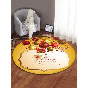Christmas Bell Printed Decorative Round Floor Rug - BEE YELLOW 120CM (ROUND)