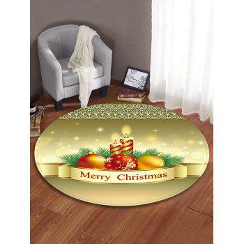 Christmas Candle Printed Decorative Round Floor Rug - FALL LEAF BROWN 60CM (ROUND)