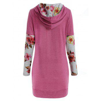 Front Pockets Floral Long Sleeve Hoodie - PINK M